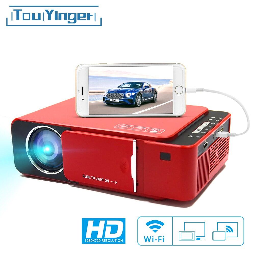 Proyector LED TouYinger T6 HD portátil HDMI (Wifi Android opcional) proyector de vídeo compatible con Cine en Casa 4K Full HD 1080p