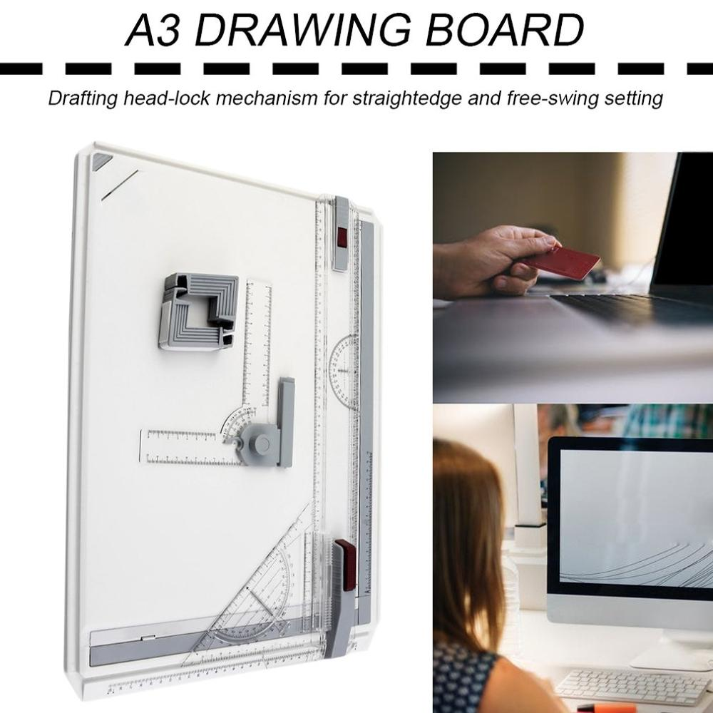 New Portable A3 Drawing Board Table Draft Painting Boards With Parallel Motion Adjustable Angle Draftsman Art Drawing Tools