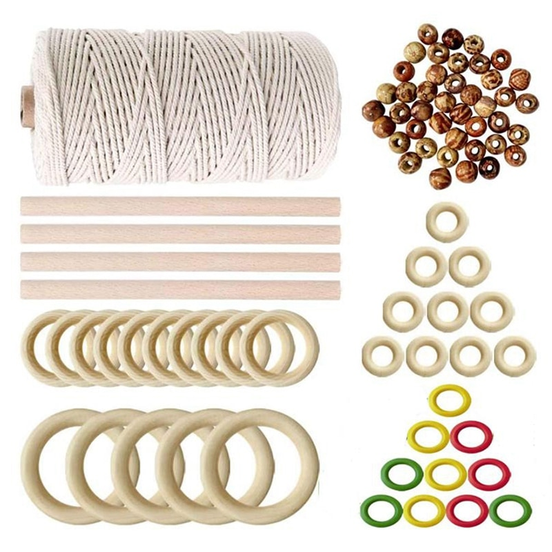 Хлопок шнур пряжа м 4 деревянные палочки 35 кольца бусины для стены висит завод DIY