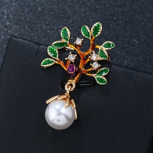Sweater woolen coat accessories evening dress high-end color Pearl brooch natural elegant life tree retro Christmas jewelry