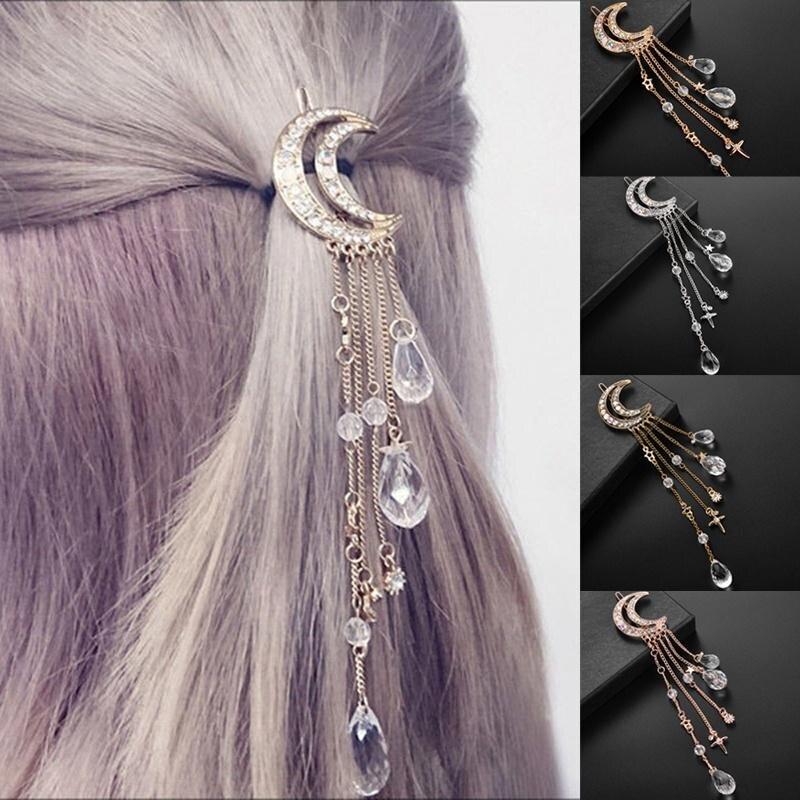 Retro Moon, borla de diamantes de imitación, cuentas colgantes, horquilla, pinza para el pelo, joyería nupcial, regalo para mujeres, estilo japonés