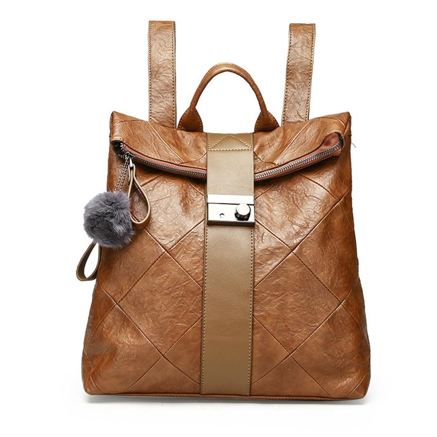 Fashion splice Women Backpack High Quality Youth Leather Backpacks for Teenage Girls Female School Shoulder Bag Bagpack mochila