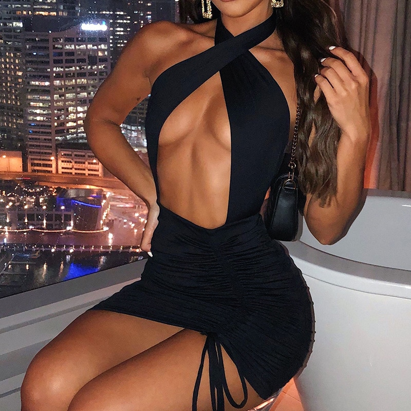 Women's 2021 Spring New Halter Neck Hollow Sleeveless Backless Drawstring Pleated Sexy Dress Women Mini Skirts for Party sexy jewel neck backless sleeveless black dress for women