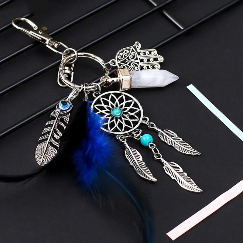 Chaveiro de penas feito à mão, pequeno chaveiro coletor de penas para decoração de carro, pingente de decoração, presente de sonho de ano novo