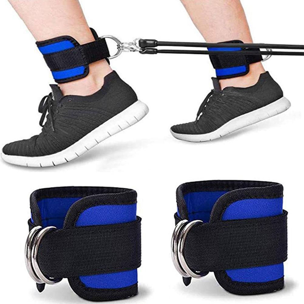 Correas de tobillo con hebilla D para máquinas de Cable, bandas de resistencia de neopreno para piernas, A1O3 almohadilla de entrenamiento, 1 par