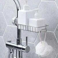 Support de Drainage de robinet reglable en acier inoxydable  support de rangement pour eponge de savon et articles divers  etagere pour la cuisine et la salle de bain