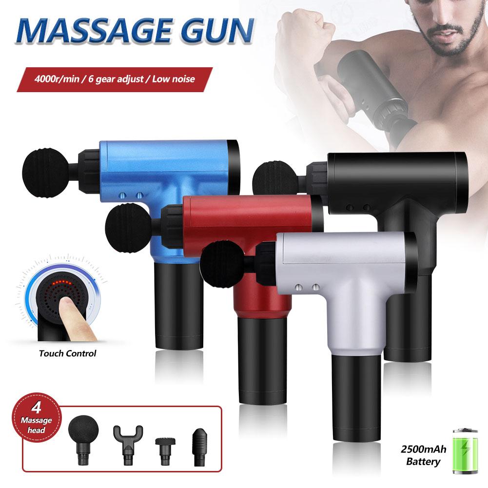 With 4 Heads Massage Guns 6 Gears Muscle Massager Pain Sport Massage Machine Relax Body Slimming Relief 1200~4000r/min