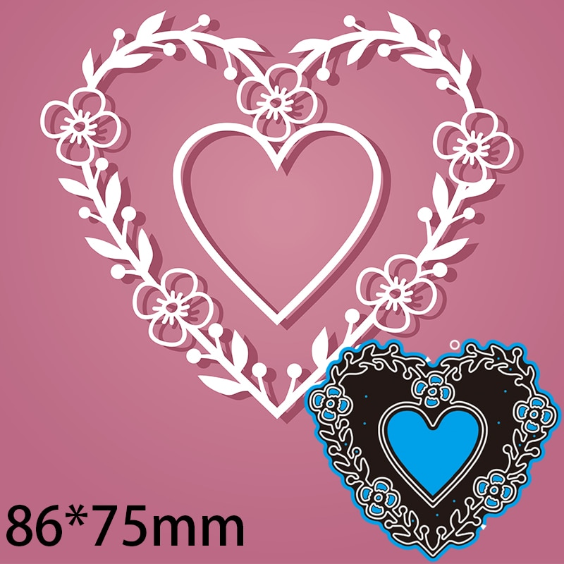 86*75mm Heart Flower Greeting Card Decoration Cutting Dies DIY Scrap Booking Photo Album Embossing Paper Cards