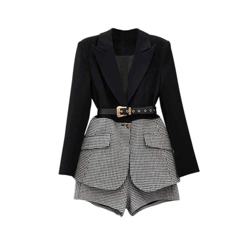 Female Casual Sets For Women Lapel Long Sleeve Sashes Blazer Wide Leg Shorts Korean Patchwork Plaid Two Piece Set