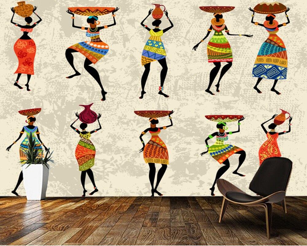 Papel de parede personalizado 3d, murales africanos para mujeres para sala de estar TV pared de vinilo Papel de pared parede