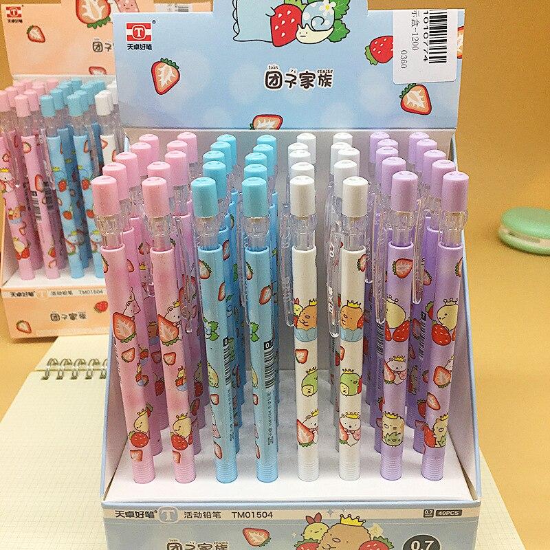 40 pçs kawaii missão família lápis mecânico escola material de escritório estudante papelaria para crianças presentes lápis automático