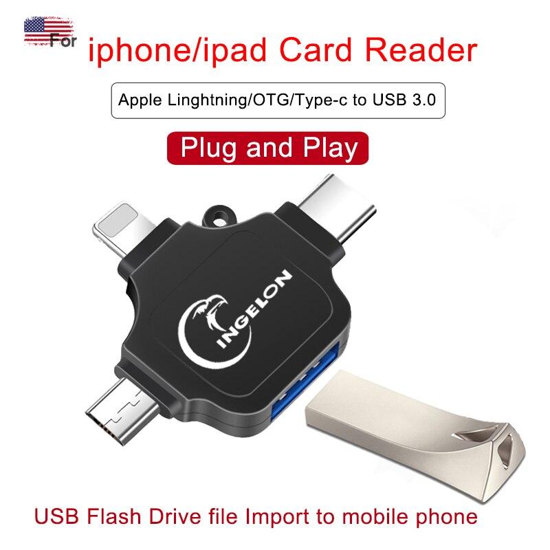 3 en 1 USB3.0 a otg tipo c para iPhone i pad Cámara ratón micrófono Pendrive convertidor OTG adaptador usb para adaptador de iluminación