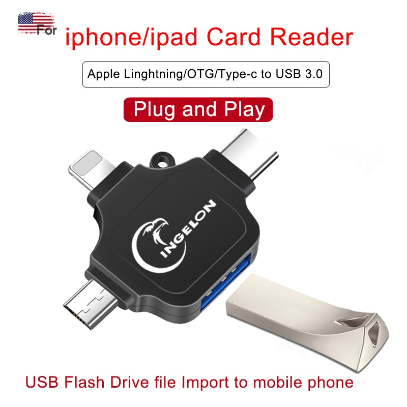 3 em 1 usb3.0 a otg tipo-c para iphon eu almofada câmera mouse microfone pendrive conversor otg adaptador usb para iluminação adappter