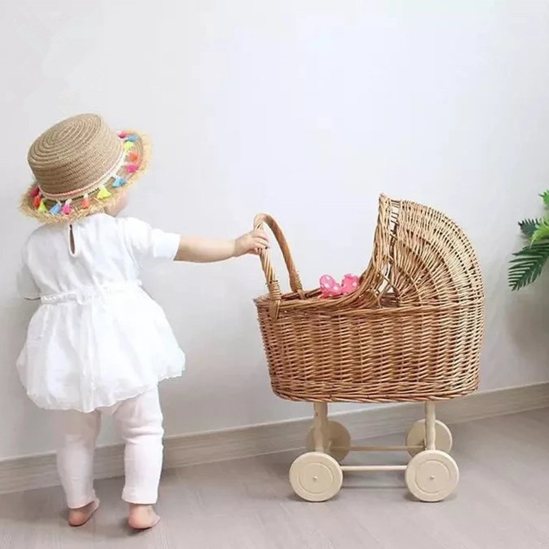 Baby Photography Props Retro Rattan Baby Stroller Toy Photo Studio Baby Doll Carriage Children's Room Decoration Baby Doll Cart