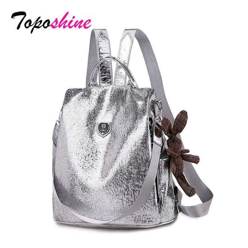 Toposhine 2019 nuevas mochilas informales para mujeres de cuero PU antirrobo Negro Mochila para niñas escuela bolso de hombro con oso negro/plata