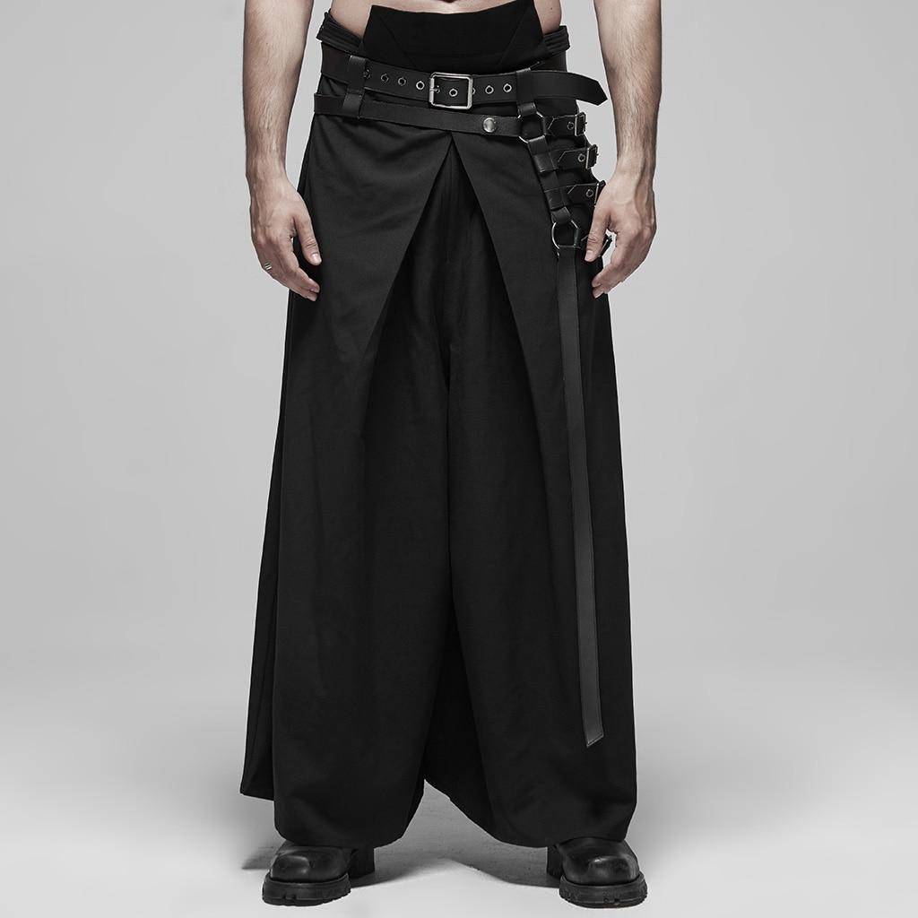 فاسق الهذيان الرجال فاسق الأسود ثوب الكيمونو الياباني نمط المكوك النسيج المحارب السراويل المعادن ضبط مشبك المرحلة الأداء بنطلون