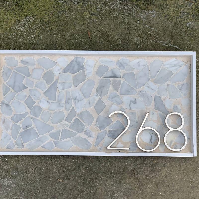 Купить с кэшбэком 12cm Big 3D Modern House Number Door Home Address Numbers for House Number Digital Door Outdoor Sign Plates 5 Inch. #0-9 Silver