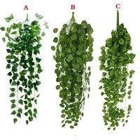 Decoration de jardin vert artificiel  fausse plante de vigne suspendue  guirlande de feuilles  decoration murale de maison  jardin  salon  1 piece
