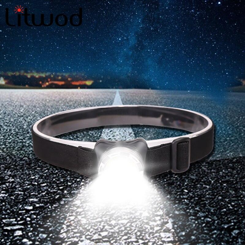 Potente faro USB recargable faro COB LED cabeza luz con batería incorporada impermeable cabeza lámpara Blanca Roja iluminación