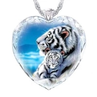 womens heart shaped tiger crystal pendant necklace crystal mother and child white tiger fashion jewelry pendant necklace