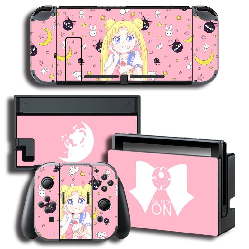 Pegatina de recubrimiento de cubierta envolvente para Anime Sailor Moon, pegatinas con consola + Joy-con + TV Dock Skins para Nintendo Switch Skins, paquete