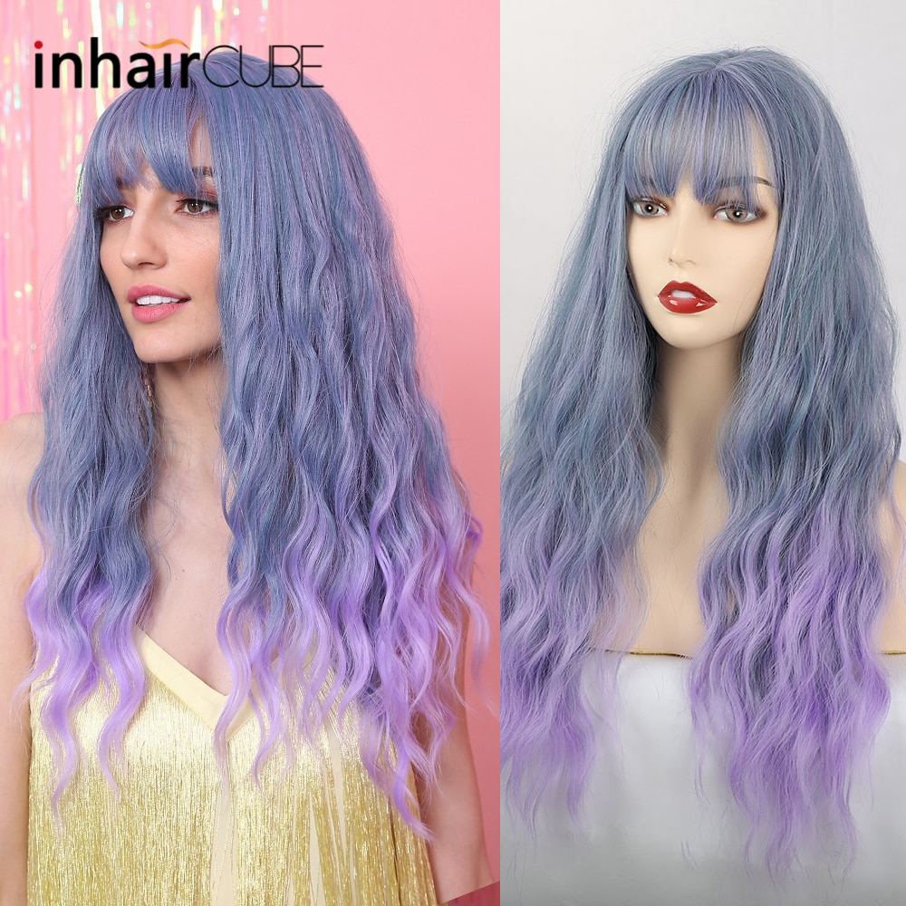 Inhaircube Ombre pelo azul colorido con flequillo pelucas largas de onda de agua sintética para mujeres Cosplay peluca Lolita uso diario/fiesta