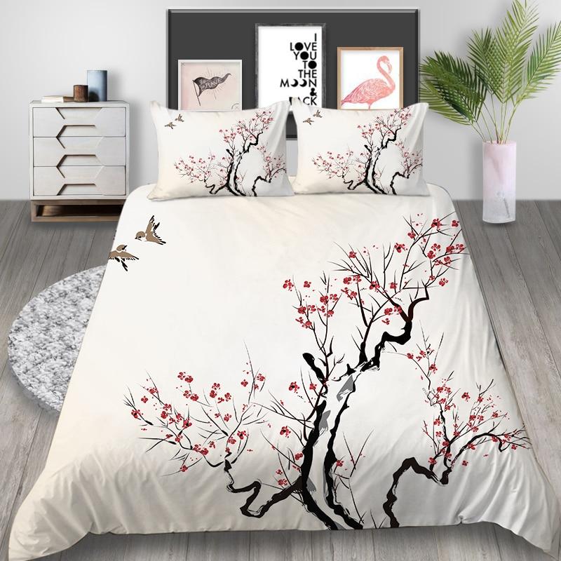 Juego de cama Thumbedding de flor de ciruelo, juego de cama chino poético clásico, funda nórdica, tamaño Queen King, doble individual, juego de cama cómodo