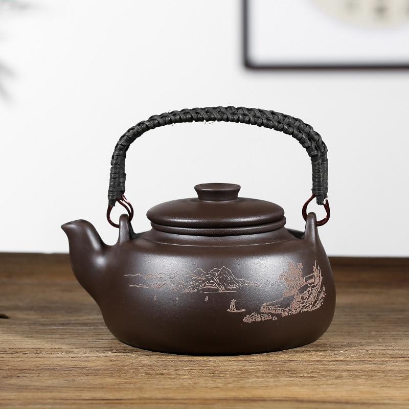 إبريق شاي الكونغ فو زيشا الصيني ، سعة كبيرة مع فلتر ، مقبض إبداعي ، إبريق شاي من الطين الأرجواني ، مجموعة WF