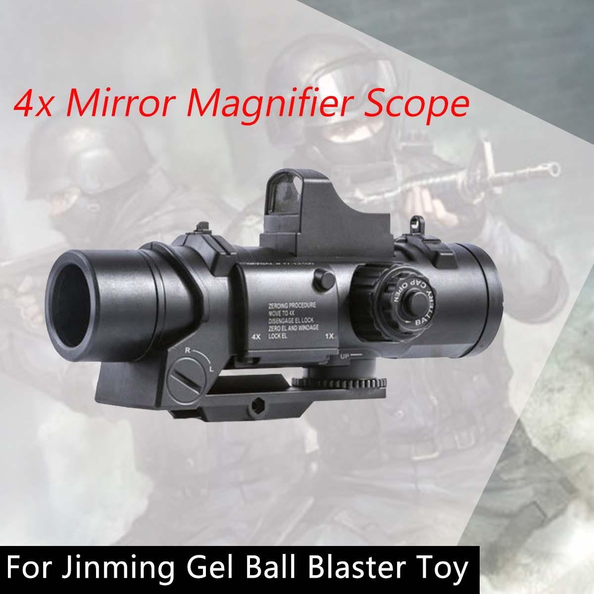 4x espelho lupa scope com ponto vermelho vistas para jinming gel bola de água brinquedo 4x vista para gel bola brinquedo