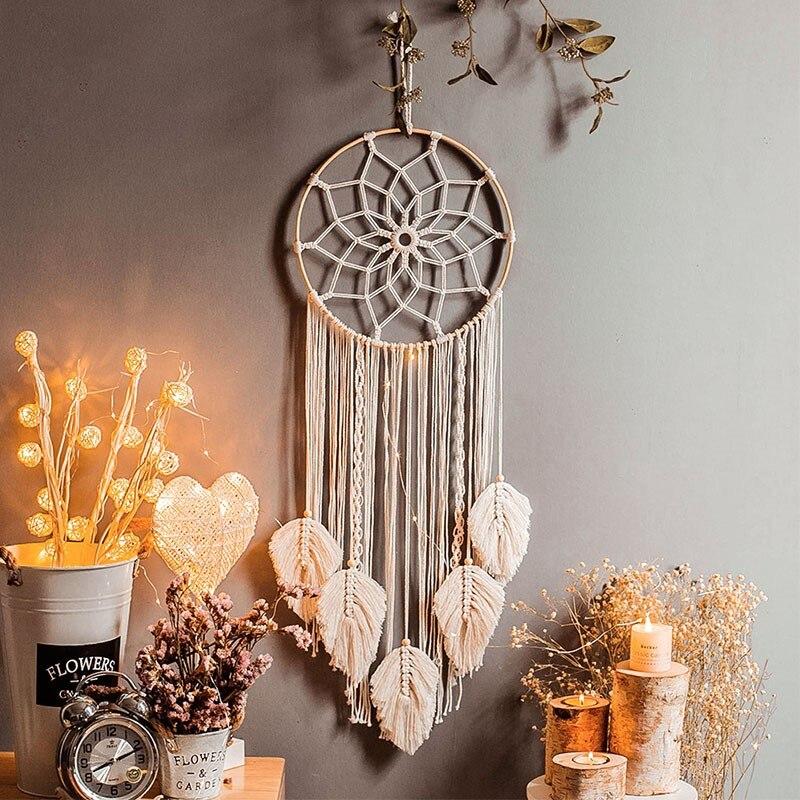 Tapiz nórdico hecho a mano con borlas para decoración de sala de estar, tapiz bohemio de salón, decoración de Pared, textil para el hogar, DB60GT