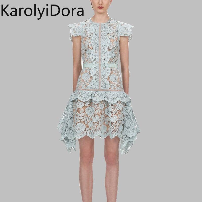 2020 marca pista irregularidade rendas mini vestidos auto retrato primavera babados retalhos céu azul feminino bodycon festa vestido