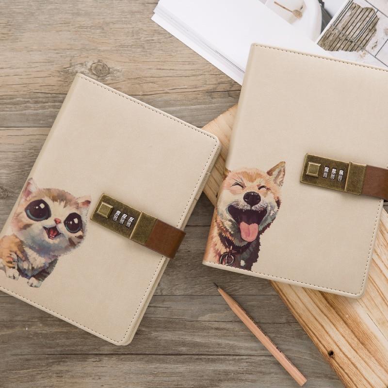 Cute Notebook with Lock B6 Journal Notepad Kawaii Cat Diary Note Book Spiral Agenda Planner Organizer Business School Handbook