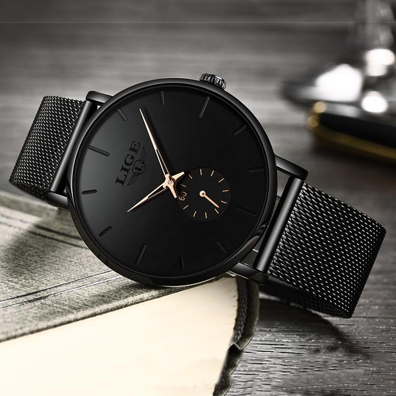 LIGE Womens Watches Top Brand Luxury Casual Fashion Watch Women Quartz Waterproof Clock Mesh belt Ladies Wristwatch Ladies Watch enlarge