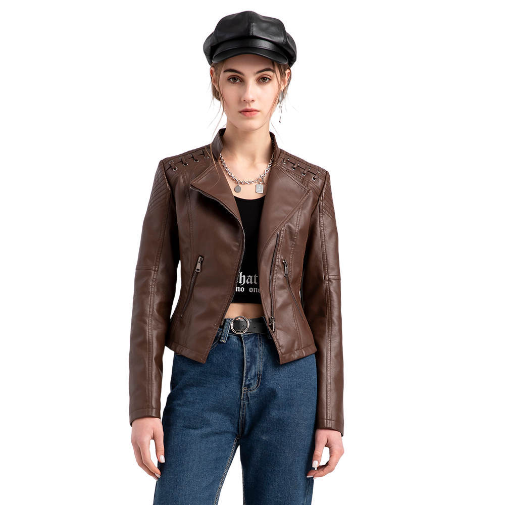 faux leather zip lace up corset Women's Faux Leather Jackets, Zip Up Motorcycle Short PU Moto Biker Outwear Fitted Slim Coat