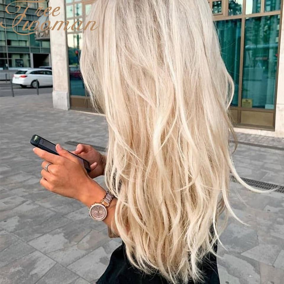 FREEWOMAN-شعر مستعار أشقر طويل مموج 20 بوصة ، اصطناعي ، مع فراق مركزي ، خط شعر طبيعي ، مقاوم للحرارة ، شعر احتفالي للنساء