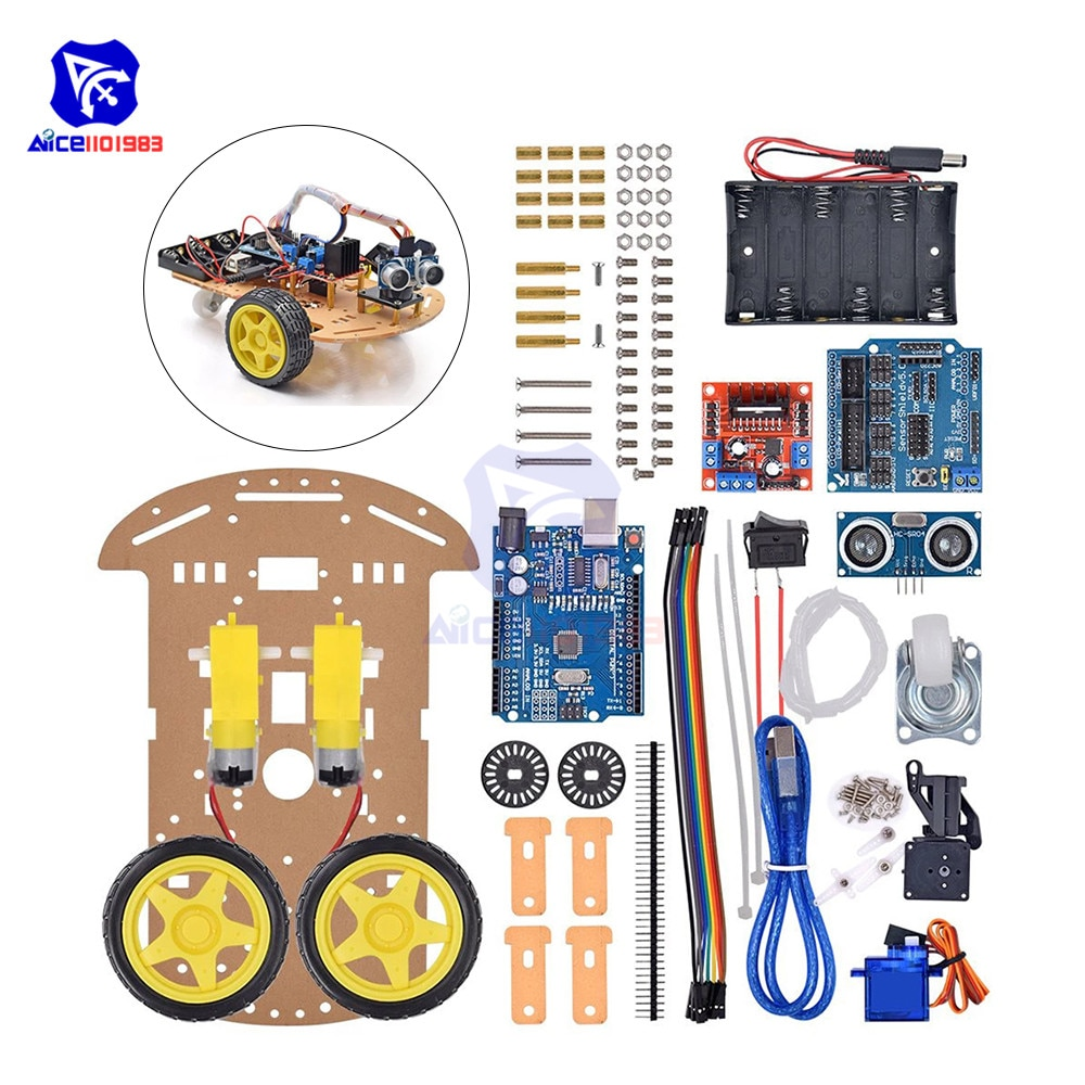 Diymore-مجموعة DIY لـ UNO R3 ، لوحة L298N ، محرك SR04 ، وحدة مستشعر بالموجات فوق الصوتية ، تتبع ذكي ، Moteur 2WD ، سيارة روبوت لاردوينو