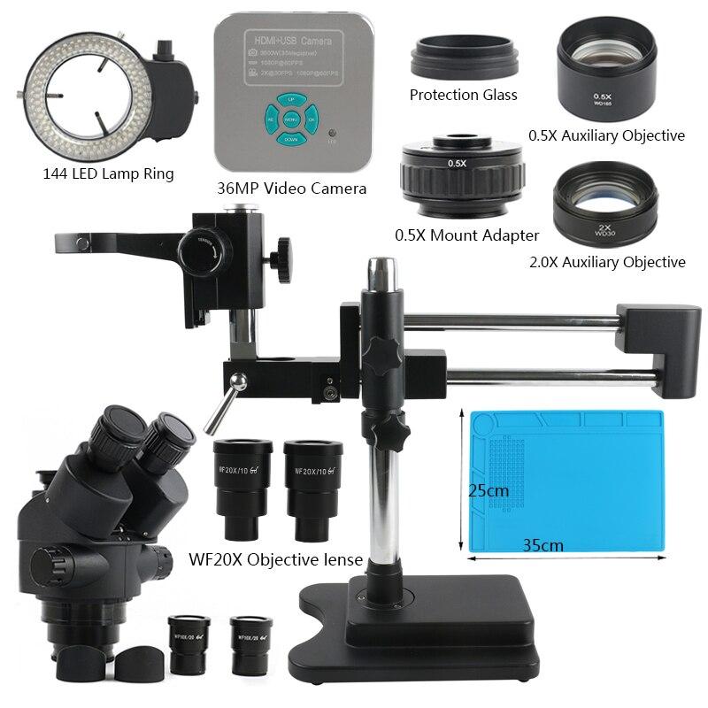 مجهر ثلاثي العينيات 3.5X-90X 7X-45X سيميول بؤري مزدوج الإزدهار مجسم + 1080P 36MP HDMI USB كاميرا فيديو لحام PCB
