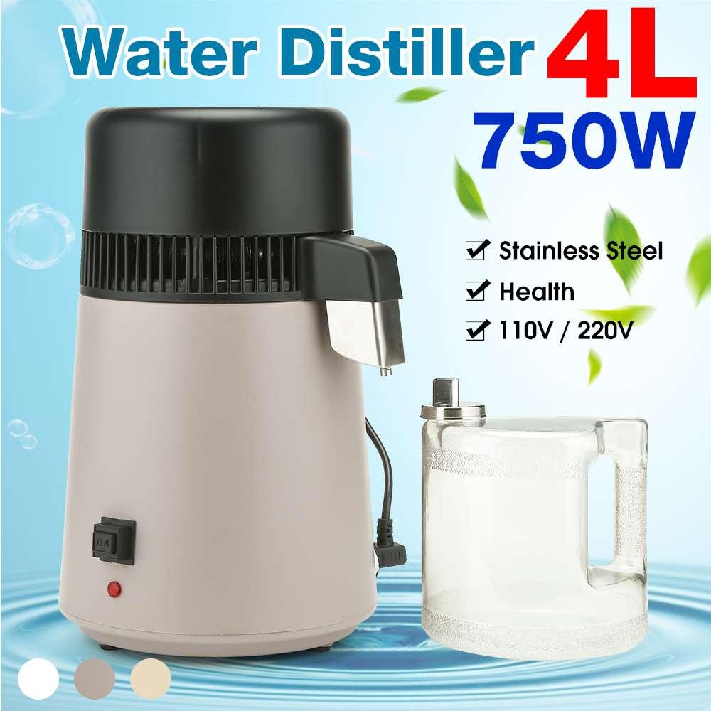 750W 4L hogar destilador de agua pura filtro de agua destilada máquina de Salud Segura purificador de destilación de agua Jarra de acero inoxidable