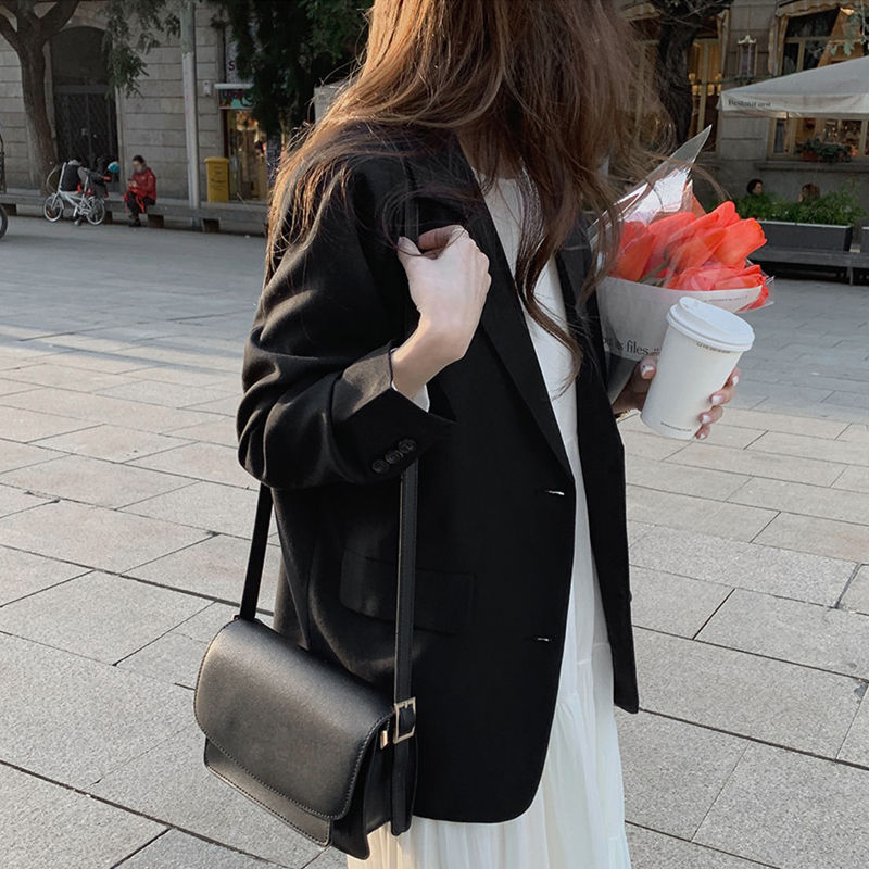 New suits Female Vintage Autumn Office Ladies Notched Collar black Women Blazer Breasted Jacket Casual Pockets Female Suits Coat office ladies notched collar plaid women blazer double breasted autumn jacket 2021 casual pockets female suits coat