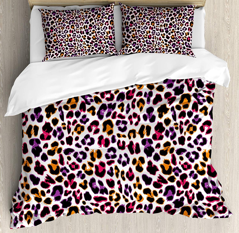 Capa de edredão africano conjunto de pele leopardo motivo com abstrato safari animal camuflagem padrão decorativo 3 peça conjunto cama