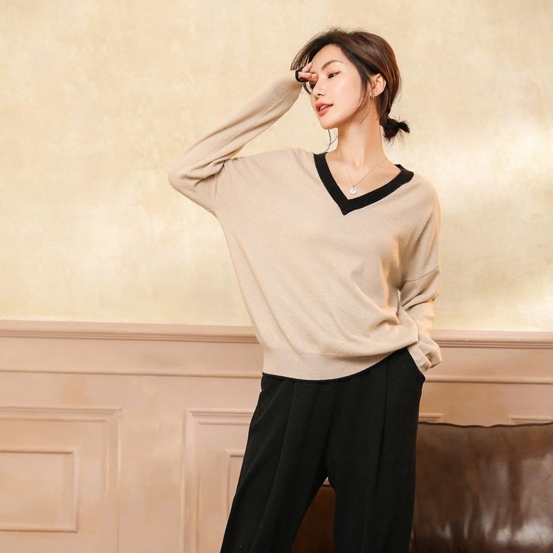 adishree 2021 woman winter 100% Cashmere sweaters and auntmun knitted Pullovers High Quality Warm Patchwork thickening V-neck enlarge