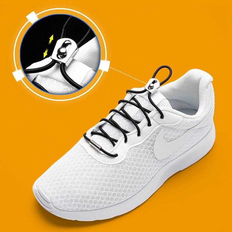 Cordones elásticos redondos que se desliza hacia arriba y hacia abajo, sin cordones hebilla de Metal, cordones aptos para todo tipo de Zapatos, zapatillas deportivas, cordones para perezosos