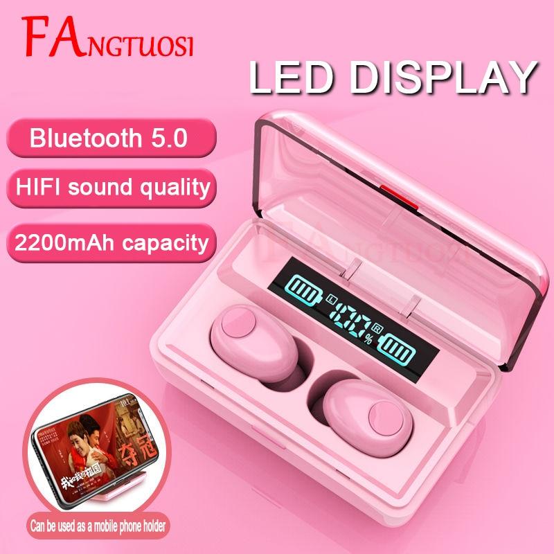 FANGTUOSI TWS HD Stereo Wireless Bluetooth Earphone Wireless Headphones, Bluetooth 5.0 Noise Cancelling Gaming Headset