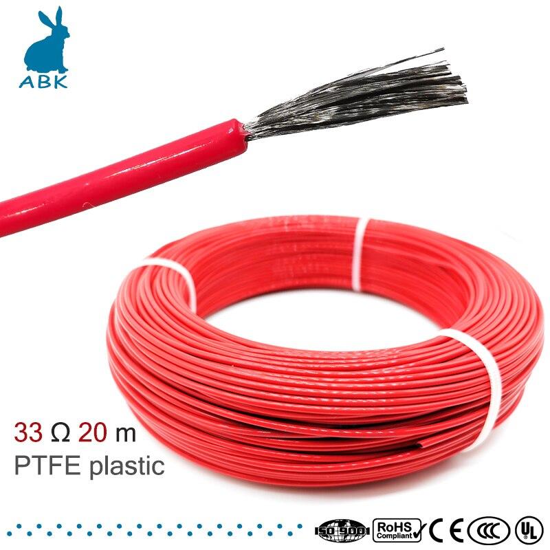 33ohm 20meter 12k ptfe chama-retardador de fibra de carbono cabo de aquecimento fio de aquecimento diy cabo de aquecimento especial para fontes de aquecimento