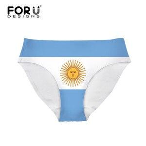 FORUDESIGNS 3D Argentine Flag Printed Women Plus Size Briefs Casual Underwear Seamless Elaticity Female Satin Panties For Ladies