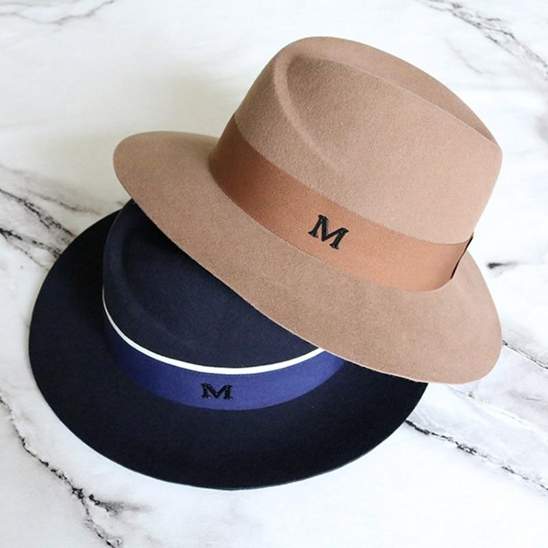 Sombrero de ala ancha para mujer, sombrero Fedora abrigado de lana australiana para mujer, sombrero Panamá Cloche, banda de cinta flexible, vestido de boda, sombreros para misa Derby