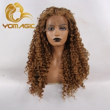 Yomagic Dark Brown Color Synthetic Hair Lace Front Wigs for Women Natural Hairline For Cosplay Gluel