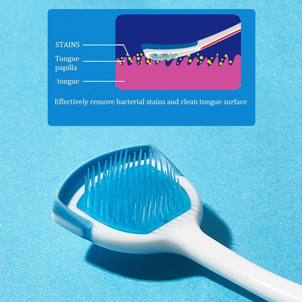 2 Pack Silicone Tongue Scraper Non-slip Handle Tongue Soft Brush Dental Oral Care Plastic Cleaner Fresh Breath Cleaning Tongue brush scraper avs wb 6328 52 cm soft handle распушенная bristles 2 surface