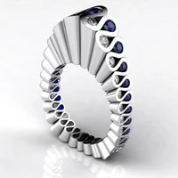 trendy designer wave bluewhite zircon rings for women luxury silver color female jewelry party accessories birthday gifts