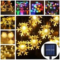 solar string fairy lights christmas lights outdoor waterproof flower garden blossom lighting party home decoration navidad